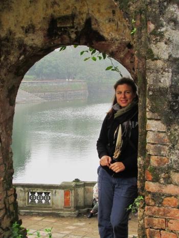 Hue_Forbidden Purple City_Gretchen in Arch w lake