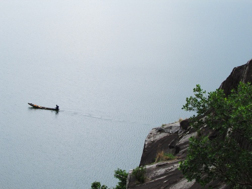 Usman Dam.Fisherman on Lake